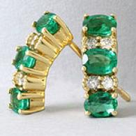 18k Gold Emerald & Diamond Earrings