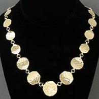 18k Gold-plated Hammered Circle 18