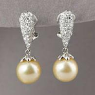18k Golde nSouth Sea Pearl & Diamond Earrings