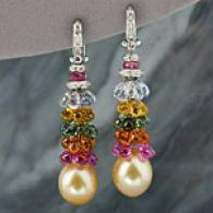 18k South Sea Pearl, Diamond, & Gemstone Earrings