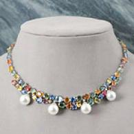18k South Sea Pearl Sapphire & Diamond Necklace