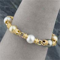 18k South Sea & Tahitian Pearl & Diamond Bracelet