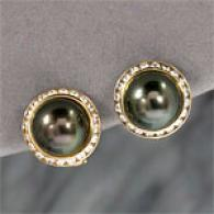 18k Tahitian Pearl & 0.78 Cttw. Diamond Earrings