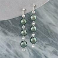 18k Tahitian Pearl & Diamond Drop Earrings