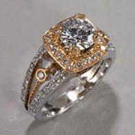 18k Two Tone 1.52 Cttw. Diamond Engagement Ring