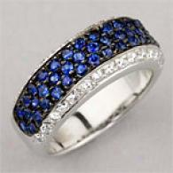 18k Wg 1.70cttw Diamond & Sapphire Band Ring