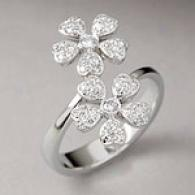 18k White Gold 0.40 Cttw. Diamond Flower Ring