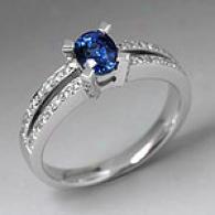 18k White Gold 0.82 Cttw. Sapphire & Diamond Ring