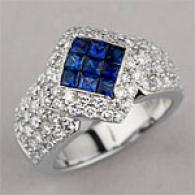 18k White Gold 2.20 Cttw. Sapphire & Diamond Ring