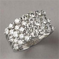 18k White Gold 3.36 Cttw. 5 Row Diamond Ring