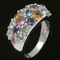 18k White Gold Citrine, Iolite & Topa2 Ring
