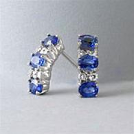 18k White Gol dSapphire & Diamond Earrings