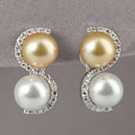 18k White & Gold South Ocean Pearl & Diamond Earring