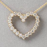 18k Yellow Gold 0.85 Cttw. Diamond Heart Pedant