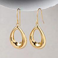 18k Yellow Gold Open Teardrop Dangie Earrings