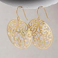 18k Yellow Gold Round Filigree Dangle Earringss