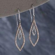 18kt Tw-tone 1.00cttw. Diamond Pave Drop Earrings