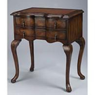 2 Drawer Accent Table With Leatherette Top