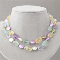 207.50 Cttw. Coin Pearl & Gemqtone Necklace