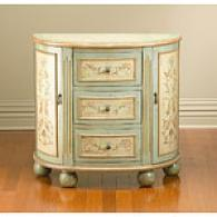 3 Drawer 2 Door Green And Beige Console Cabinet