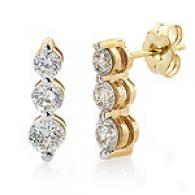 3-stone Diamond Drop Earrings, 14k Yellow Gold