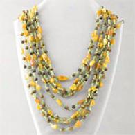 340.00 Cttw. Tiger Eye, Peridot, & Amber Necklace