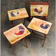 5pc French Rooster Tv Tray Set