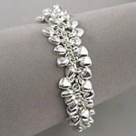 7.5in Polished Silver Heart Cluster Charm Bracelet