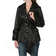 Abs Bell Sleeve Rain Coat With Satin Double Collar