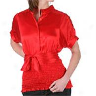 Abs By Allen B. Schwartz Red Smocked Waist Top