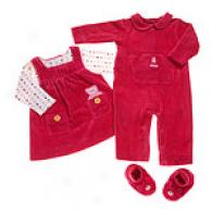 Absorba Newborn Girl Coverall & Dress Set