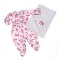 Absorba Newborn Girl Velour Footie & Blanket Set