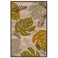 Acura Palm Frond Hand Woven Bamboo Rug With Border