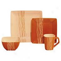 Amber Wheat Square 16pc Dinnerware Set