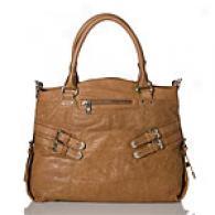 Andrew Marc Pamela Cashew Large Leather Satchel