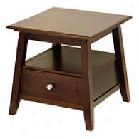 Angolo Collection End Table With Shelf & Drawer