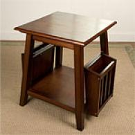 Angolo nEd Table With Magazine Holders & Shelf