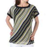 Anne Klein Silk Chiffon Boat Neck Top