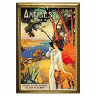 Antibes Lady In White Framed Priint By Dellepiane