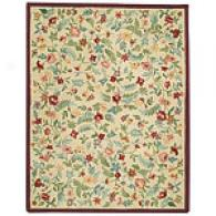 Antique Floral Ivory Hooked Wool Rug