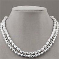 Argento Vivo Multi Strand Silver Bead Necklace