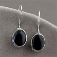 Argento Vivo Genuine Silver Oval Onyx Earrings