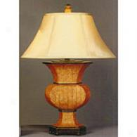 Basket Weave Table Lamp With Silk Shade