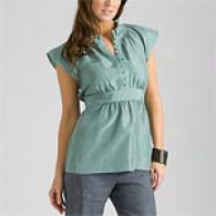 Bcbgmaxazria Cascade Blue Silk Pleated Top