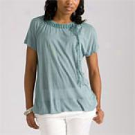 Bcbgmaxazria Cascade Blue Semi-sheer Knit Top