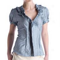 Bcbgmwxazria Short Sleeve Striped Silk Blouse