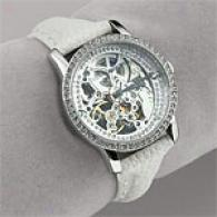 Bcbgmaxazria Womens Crystal Skeleton Dial Watch