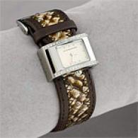 Bcbgmaxazria Womens Crystal Cream Python Watch