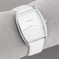 Bcbgmaxazria Womens White On White Leather Watch