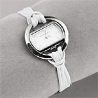 Bcbgmaxazria Womens White Leather Twisted Watch